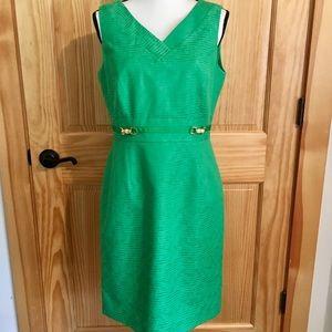 TAHARI Arthur Levine Bright Green Sleeveless Dress